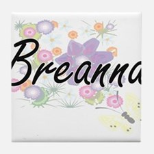Breanna Artistic Name Design with Flo Tile Coaster