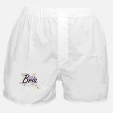 Bria Artistic Name Design with Flower Boxer Shorts