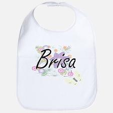 Brisa Artistic Name Design with Flowers Bib