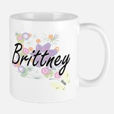 Brittney Artistic Name Design with Flowers Mugs