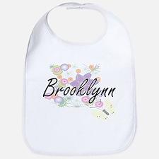 Brooklynn Artistic Name Design with Flowers Bib