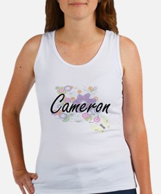 Cameron Artistic Name Design with Flowers Tank Top