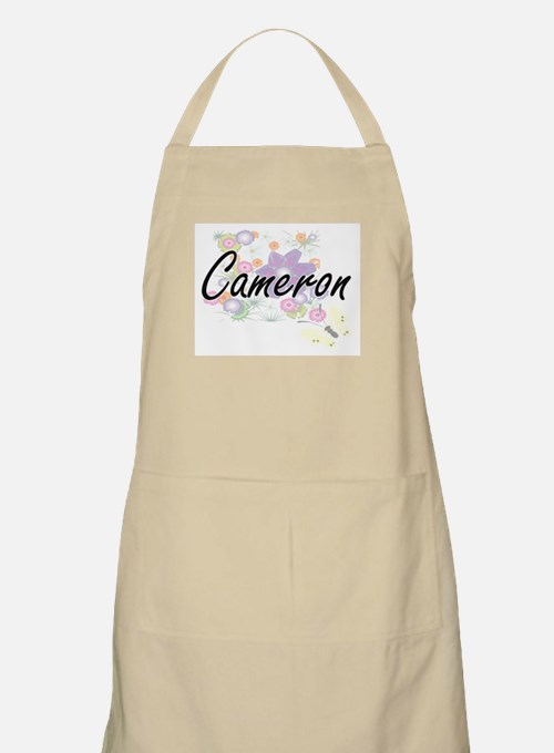 Cameron Artistic Name Design with Flowers Apron