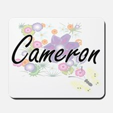 Cameron Artistic Name Design with Flower Mousepad