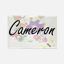 Cameron Artistic Name Design with Flowers Magnets