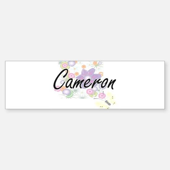 Cameron Artistic Name Design with F Bumper Car Car Sticker