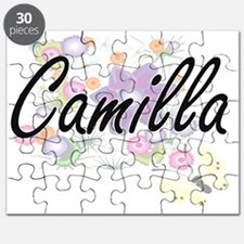 Camilla Artistic Name Design with Flowers Puzzle