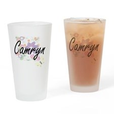 Camryn Artistic Name Design with Fl Drinking Glass