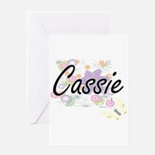Cassie Artistic Name Design with Fl Greeting Cards
