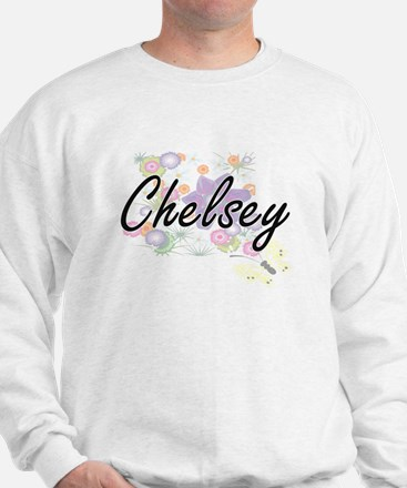 Chelsey Artistic Name Design with Flowe Sweater