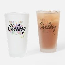 Chelsey Artistic Name Design with F Drinking Glass
