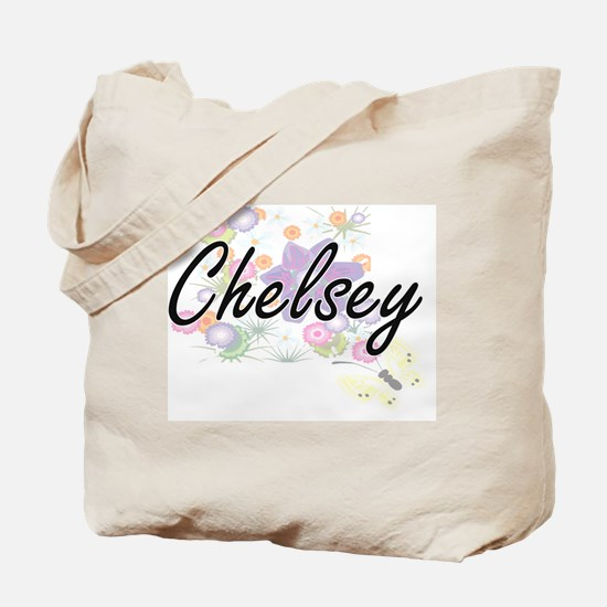Chelsey Artistic Name Design with Flowers Tote Bag