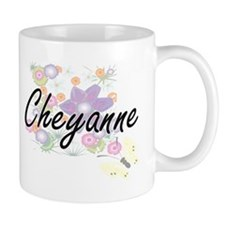 Cheyanne Artistic Name Design with Flowers Mugs