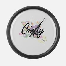 Cindy Artistic Name Design with F Large Wall Clock