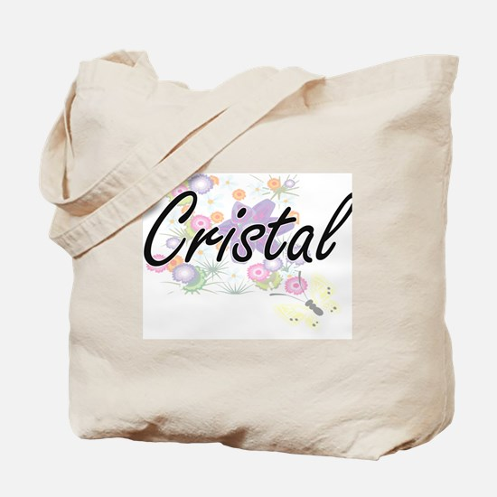 Cristal Artistic Name Design with Flowers Tote Bag