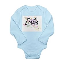 Dalia Artistic Name Design with Flowers Body Suit