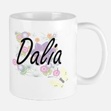 Dalia Artistic Name Design with Flowers Mugs