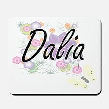 Dalia Artistic Name Design with Flowers Mousepad
