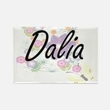 Dalia Artistic Name Design with Flowers Magnets