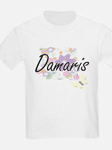 Damaris Artistic Name Design with Flowers T-Shirt