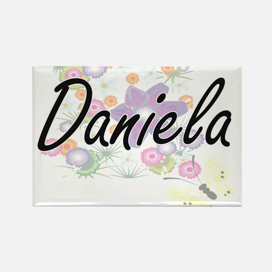 Daniela Artistic Name Design with Flowers Magnets