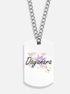 Dayanara Artistic Name Design with Flower Dog Tags