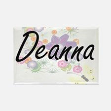 Deanna Artistic Name Design with Flowers Magnets