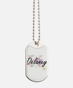 Delaney Artistic Name Design with Flowers Dog Tags