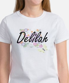 Delilah Artistic Name Design with Flowers T-Shirt