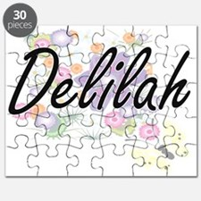 Delilah Artistic Name Design with Flowers Puzzle