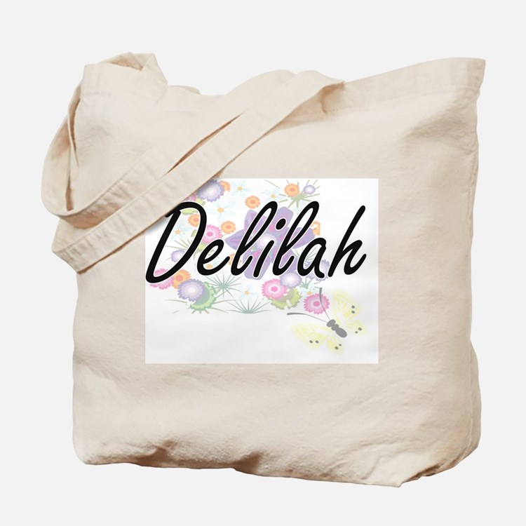 Delilah Artistic Name Design with Flowers Tote Bag