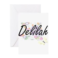 Delilah Artistic Name Design with F Greeting Cards