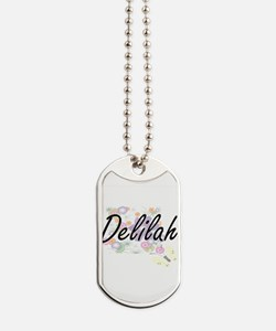Delilah Artistic Name Design with Flowers Dog Tags
