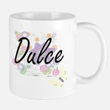 Dulce Artistic Name Design with Flowers Mugs