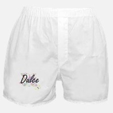 Dulce Artistic Name Design with Flowe Boxer Shorts