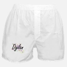 Dylan Artistic Name Design with Flowe Boxer Shorts