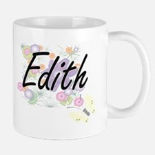 Edith Artistic Name Design with Flowers Mugs