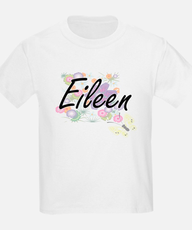 Eileen Artistic Name Design with Flowers T-Shirt