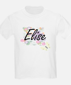 Elise Artistic Name Design with Flowers T-Shirt