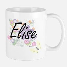 Elise Artistic Name Design with Flowers Mugs