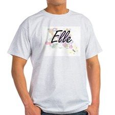 Elle Artistic Name Design with Flowers T-Shirt
