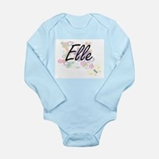 Elle Artistic Name Design with Flowers Body Suit