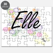 Elle Artistic Name Design with Flowers Puzzle