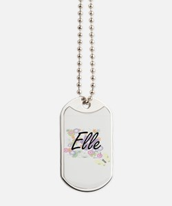 Elle Artistic Name Design with Flowers Dog Tags