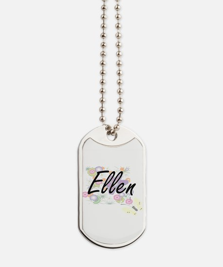 Ellen Artistic Name Design with Flowers Dog Tags