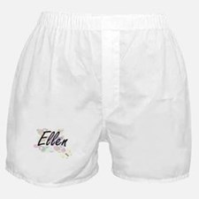 Ellen Artistic Name Design with Flowe Boxer Shorts
