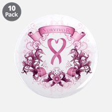 "Survivor Pink Heart Ribbon 3.5"" Button (10 Pa"