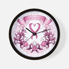 Survivor Pink Heart Ribbon Wall Clock