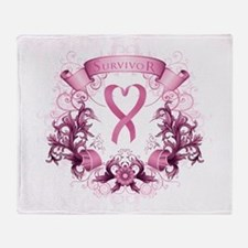Survivor Pink Heart Ribbon Throw Blanket