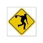 Bowling Crossing Sign Square Sticker 3